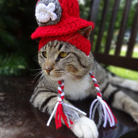 Cat Hat Cat Costume - Cats and Small Dogs -  The Kitty Cat's Fire Hat - Cat Clothes Cat Clothing Cat Apparel