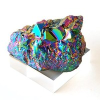 2.5 to 3.5 Inch Rainbow Titanium Coated Amethyst Crystal Cluster Specimen with Acrylic Base