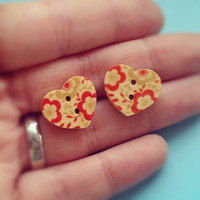 Cute Heart Button Earrings - studs, wood - 5 designs to choose from