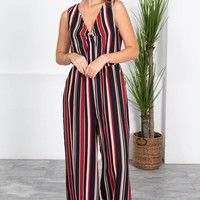 Cherry Black Stripe Jumpsuit