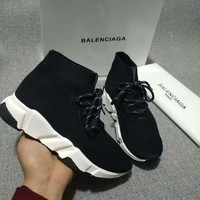 2020 new cheap Balenciaga Stylish Women Men Casual Speed Stretch Knit Socks Shoes top quality black