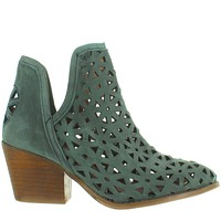 Musse & Cloud Athena - Dusty Blue Leather Laser-Cut Western Bootie