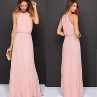 2015 Women Chiffon Maxi Dress Elegant Off the Shoulder Roupas Femininias Summer Long Dresses = 1932758212