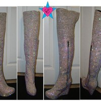 Custom AB Rhinestone Thigh High Crystal Boots