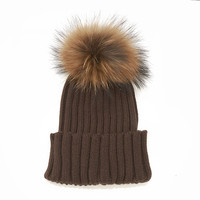 LUX FUR POM BEANIE BROWN