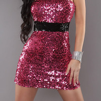 Pink Strapless Sequined Bodycon Mini Dresses