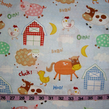 Farm animal fabric with horses cows chicks pig barn cotton  quilting sewing material 1YD by the yard