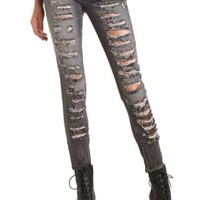 Zipper-Cuff Destroyed Charcoal Skinny Jeans