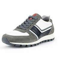 Prada Men's Plume Calf Leather With Suede Trainer Sneaker, Grey/White/Blue 4E2943