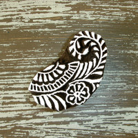 Paisley Stamp: Indian Printing Block, Hand Carved Wood Stamp, Flower Leaf Stamp, Wooden Ceramic Tile Pottery Textile Stamp from India