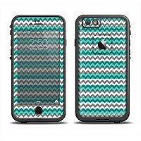 The Vintage Green & White Chevron Pattern V4 Apple iPhone 6 LifeProof Fre Case Skin Set