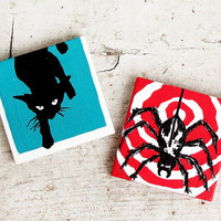 Mini Canvas Magnets - Spider and Cat - Vintage Art Inspired - Set of Two - 3x3