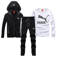 PUMA 2018 autumn and winter new sportswear casual sports suit two-piece white