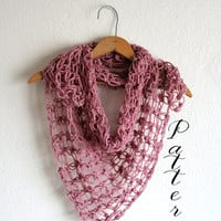 DIY Crochet Scarf Pattern - DIY Scarf Shawl Pattern Simple Pattern with Photos - Solomons Knot Scarf - Spring Scarf - Lightweigh scarf