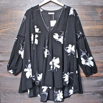 Hazel the Label - Tahiti Baby Doll Floral Tunic with Lace Inset in Black