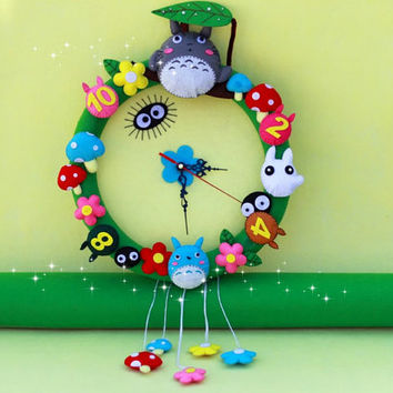 Totoro and Friends Felt Wall Clock with Flowers,  DIY Felt Craft Kit Or Finished Product, Handmade Clock, Home Decor, Christmas Gift