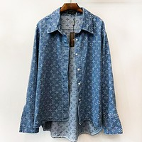 LV Louis Vuitton Autumn And Winter New Fashion Monogram Print Women Men Long Sleeve Coat Blue