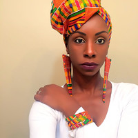 Kente ankara wax print African fabric headwrap oversized large statement dangle earrings bangle bracelet set