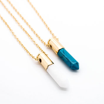 Bullet stone long necklace