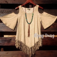 Taupe Western Fringe Cold Shoulder Top