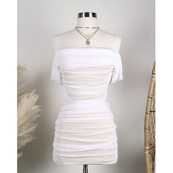On The Line Ruched Strapless Mini Mesh Dress in White