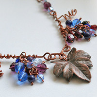 Autumn grapes necklace, fall harvest necklace, OOAK handmade jewelry
