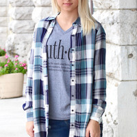 Good Memories Plaid + Pockets Blouse {Teal+Navy}