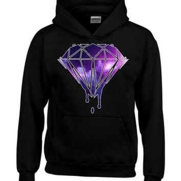 Bleeding Melting Dripping GALAXY Diamond Hoodie Fashion Sweatshirts Medium Black