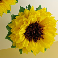 HAPPY SUNFLOWERS. 5 Giant Paper Flowers, autumn wedding, photo booth, birthday, shower, hang or wall, fall decor, Party Blooms by Whimsy Pie
