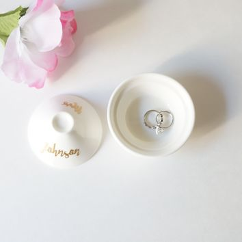 Custom Ceramic White and Gold Foil Mrs Jewelry Dish with Lid Wedding Gift Personalized Name