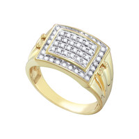 Diamond Cluster Mens Ring in 10k Gold 0.5 ctw