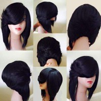 Medium Side Flip Part Layered Straight Inverted Bob Synthetic Wig - Brown   Fwresh Beauty