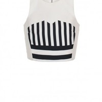 Tibi Escalante Striped Silk Cropped Top