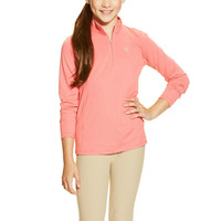 Ariat Girls Sunstopper 1/4 Zip Shirt - Strawberry Pink
