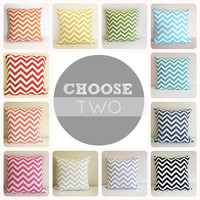 Two Chevron EURO Pillow Covers. 22 X 22 Inch by thebluebirdshop