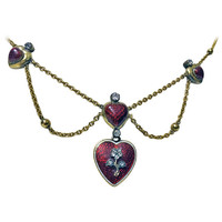 Antique English Enamel Gold Diamond Heart Necklace