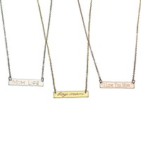Personalized Mom Bar Necklace