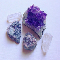 Crystal Set Amethst Lepidolite Clear Quartz Collection Stone Set Stone Collection Healing Crystals and Stones Beginner Set Crystal Grid Kit