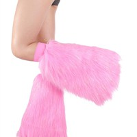 Baby Pink Sparkle Fluffies : Clubstyle Metallic GoGo Fluffy Leg Warmers