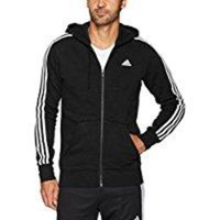 DCCK8TS adidas Men's Essentials 3-Stripe Full Zip Fleece Hoodie