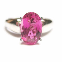 Sterling and 10K Raspberry Pink Tourmaline Engagement Ring Size 7