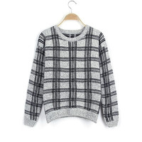 Women's Round Collar Long Sleeves Checkerboard Pattern Sweater