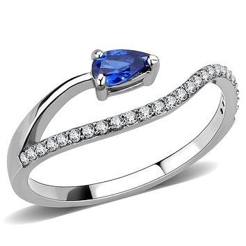 Stainless Steel Rings DA273 Stainless Steel Ring with Synthetic in London Blue