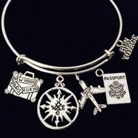 Bon Voyage World Traveler Adjustable Charm Bracelet Expandable Wire Bangle Airplane Stewardess Gift Trendy Travel