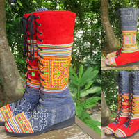 Vegan Womens Boots Bright Colorful Hmong Embroidery Boho Boots - Sadie