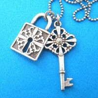 Lock and Key Pendant Necklace with Pattern Detail in Silver on SALE