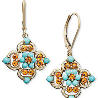 14k Gold Earrings, Turquoise (3/4 ct. t.w.) and Citrine (1/2 ct. t.w.) Drop - Earrings - Jewelry & Watches - Macy's