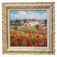 Italian painting Tuscany landscape n 6 field of Bruno Chirici original oil Italia Italy Toscana + frame