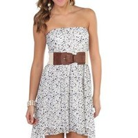 strapless all over floral lace print belted high low dress - debshops.com