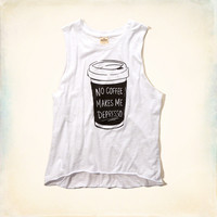 No Coffee Graphic Muscle Tank